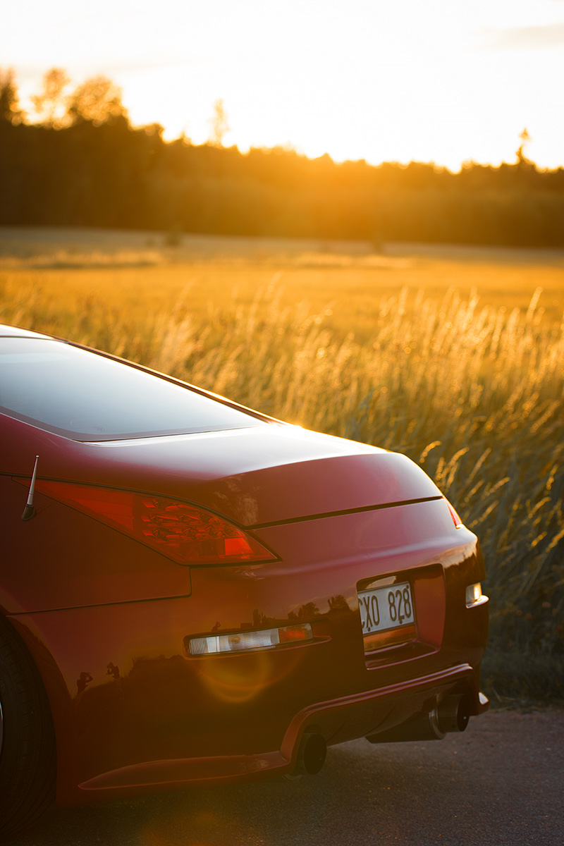 Fotograf Markus P i Örebro, Nissan 350z i solnedgång