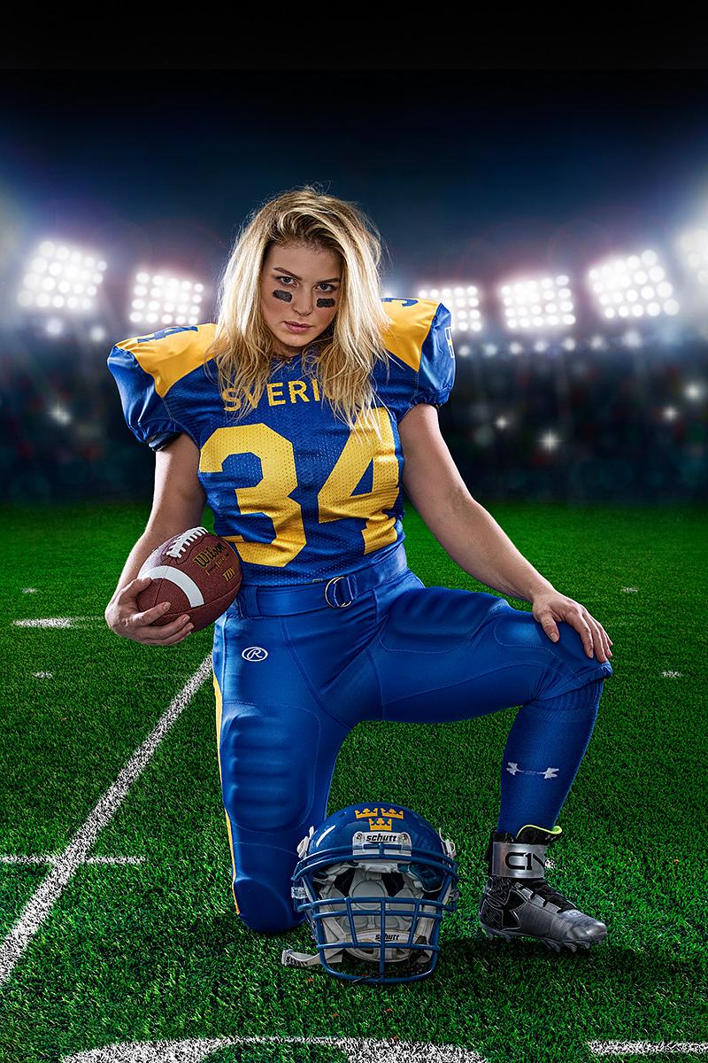 Avancerad retusch, promotionbilder för Sofia Melin, damlandslaget i Amerikansk Fotboll