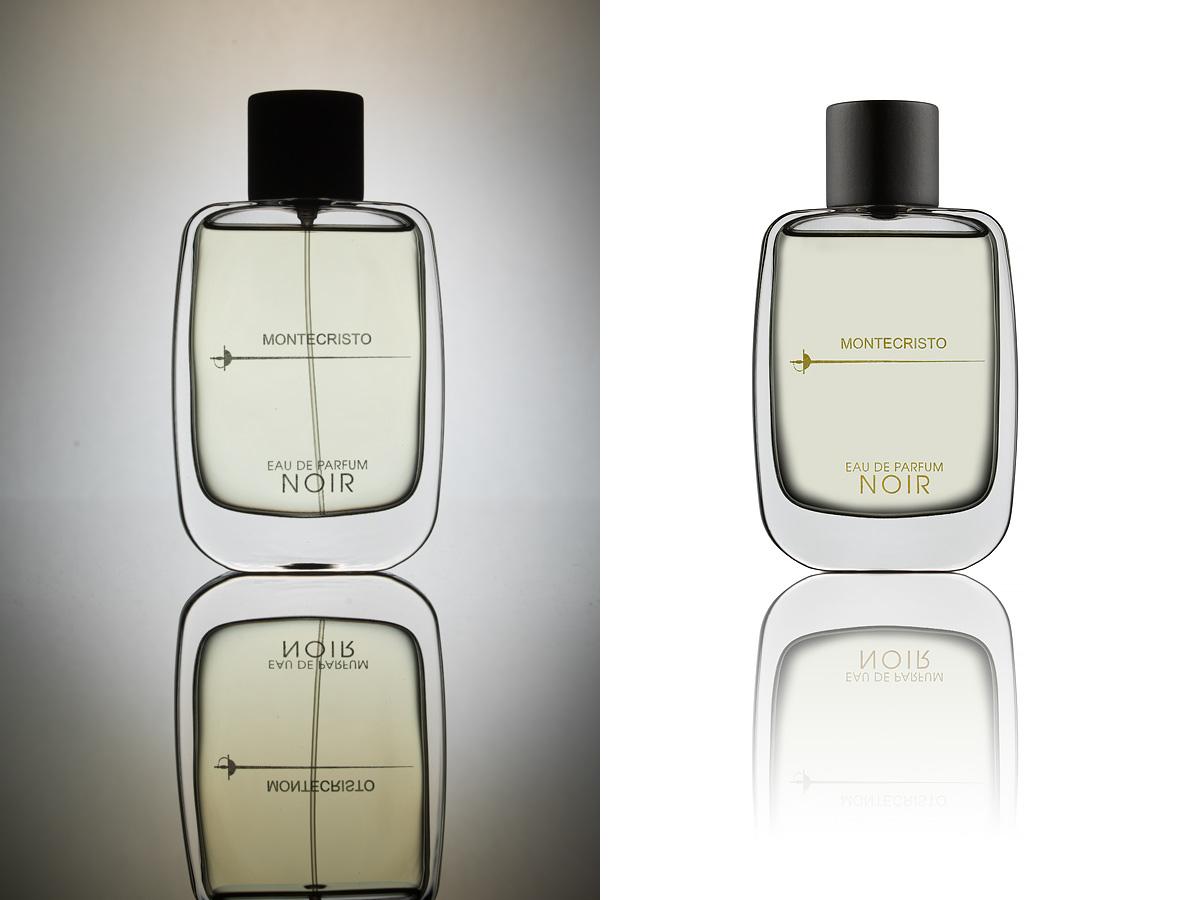 Bild på före och efter retusch, glasflaska mot ljus bakgrund