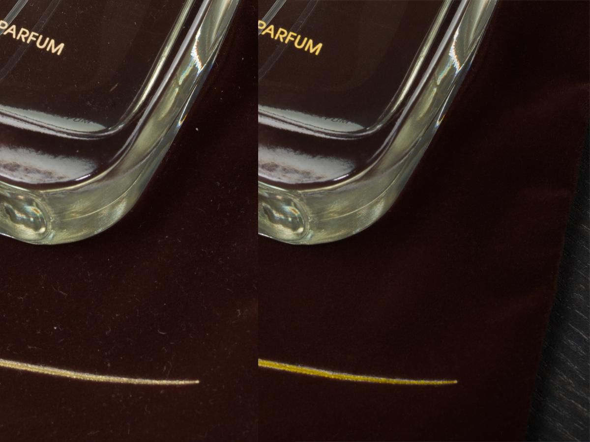 Före och efter retusch av damm på sammet