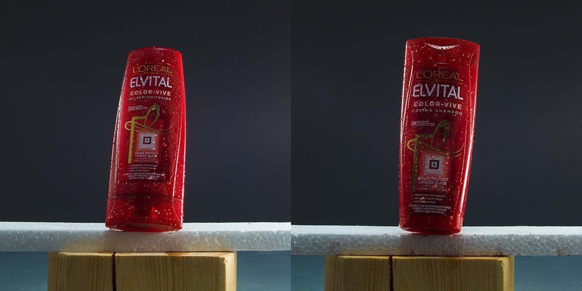 Elvital shampooflaskor blöta