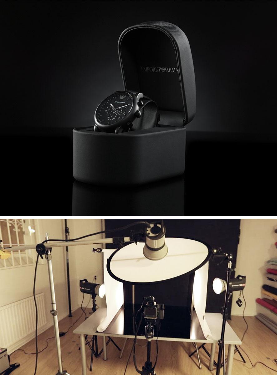 Ljussattning för produktfotografering av klocka i studio