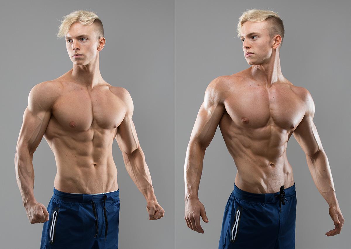 Hampus Botvid utan ( t v) och med (t h) Muscle Juice